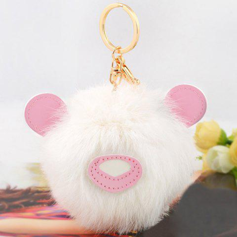 Best Animal Keychains Fur Bear Ball Bag Hanging Keyring - PINK AND WHITE  Mobile