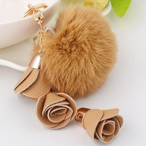 Sale Bag Keychain Fluffy Pom Ball PU Floral Pendant Keyring - COFFEE  Mobile