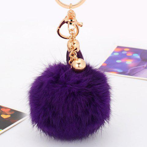 Outfit Fluffy Pompom Ball Tassel Charm Keyring - PURPLE  Mobile