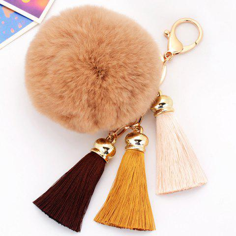 2018 Bag Keychain Soft Flush Pom Ball Keyring With Tassel In Coffee ... 99b50576b