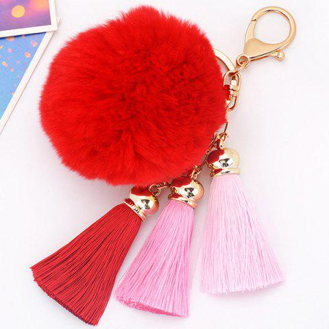 Buy Bag Keychain Soft Flush Pom Ball Keyring With Tassel