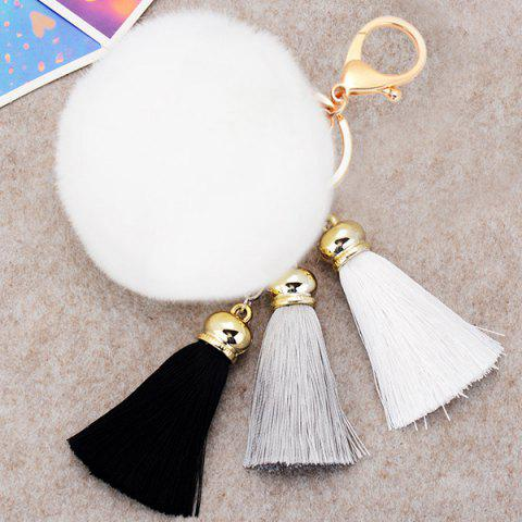Unique Bag Keychain Soft Flush Pom Ball Keyring With Tassel WHITE