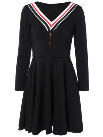 Outfit Striped Contrast Dress with Pendant