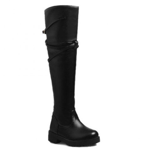 Belt Buckle Dark Colour Thigh Boots - Black - 39