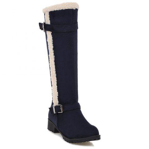 Flat Heel Zipper Double Buckle Boots - Deep Blue - 37