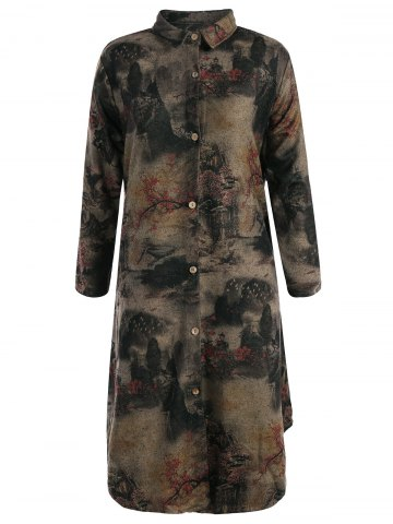 Store Landscape Ink Painting Long Button Up Coat COLORMIX XL