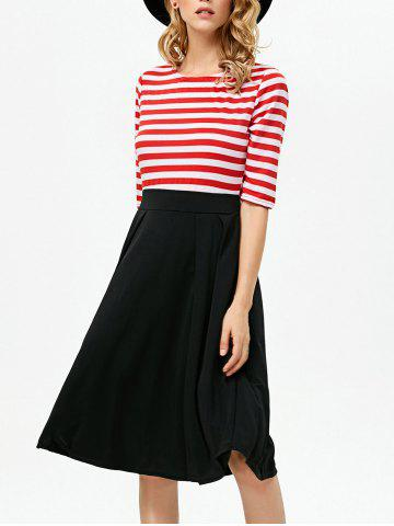 Outfits Stripe Color Block Knee Length Dress RED XL