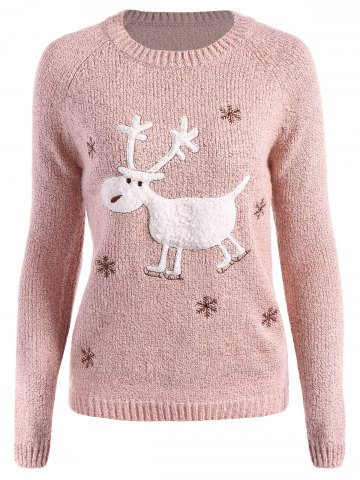Fashion Christmas Reindeer Snowflake Embroidered Sweater PINK ONE SIZE