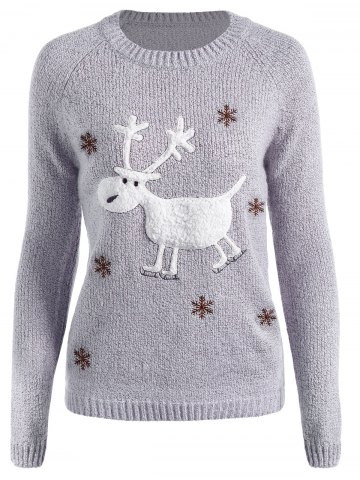 Shops Christmas Reindeer Snowflake Embroidered Sweater GRAY ONE SIZE