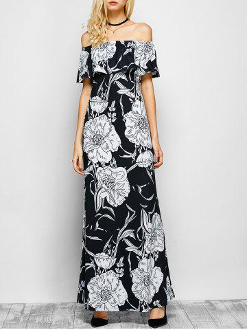 Outfit Floral Off The Shoulder Maxi Dress