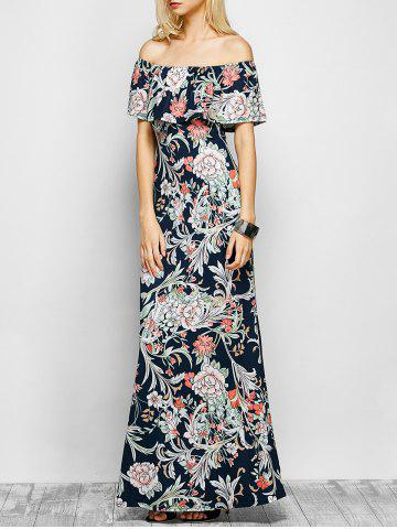 Online Flounced Floral Off The Shoulder Maxi Dress