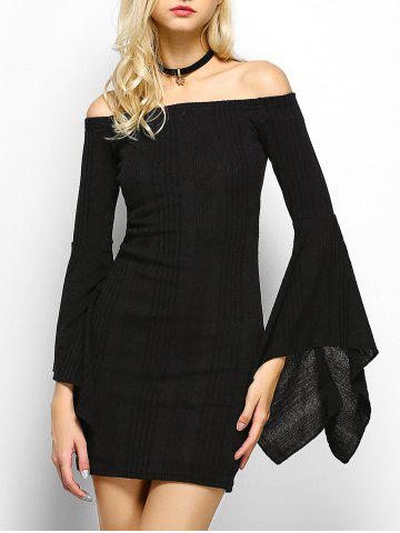 Fashion Off The Shoulder Long Sleeve Party  Dress BLACK XL