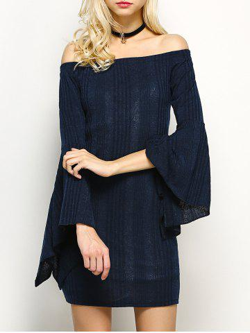 Off The Shoulder Long Sleeve Party  Dress - Purplish Blue - L