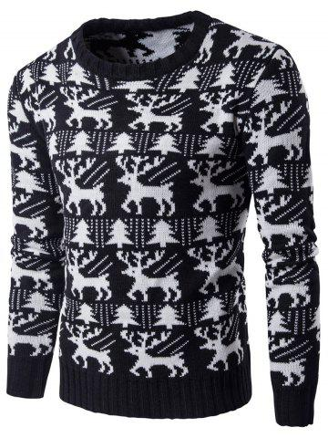 Tree Deer Pattern Knitted Christmas Sweater - Black - M