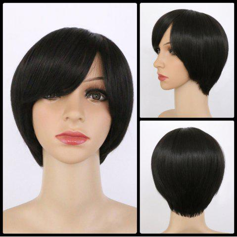Unique Handsome Synthetic Black Short Oblique Bang Wig For Women
