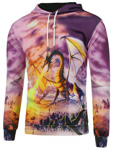 New Kangaroo Pocket Dragon Print Hoodie PURPLE 5XL