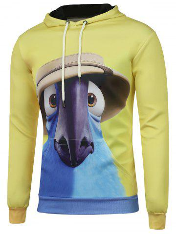Fancy Cartoon Print Drawstring Kangaroo Pocket Hoodie