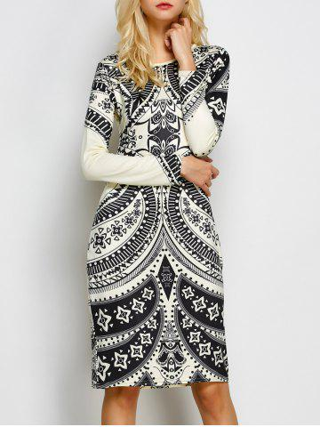 Latest Tribal Print Open Back Sheath Dress