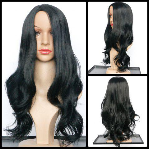 Best Elegant Synthetic Black Long Middle Part Wavy Wig For Women BLACK