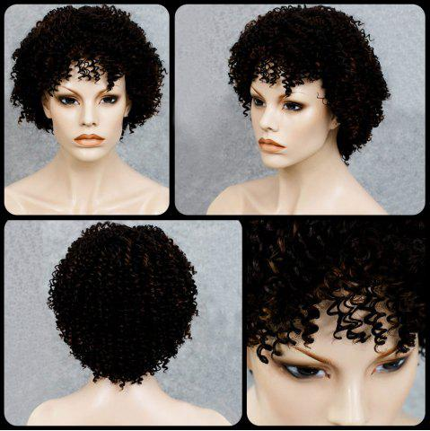 Cheap Stylish Black Mixed Synthetic Shaggy Afro Curly Capless Wig For Women COLORMIX