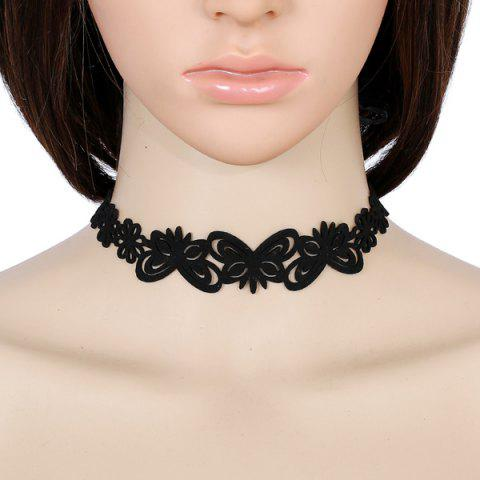 Artificial Leather Velvet Butterfly Choker Necklace - Black - 5xl