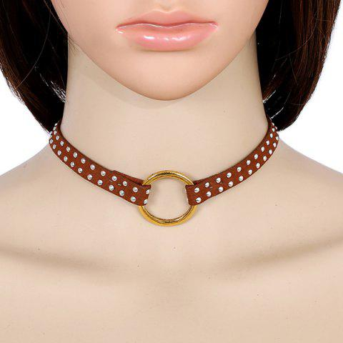 Artificial Leather Rivets Circle Choker Necklace - Brown