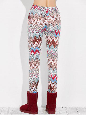 Online High Rise Leggings With Zigzag Print - S MULTI Mobile