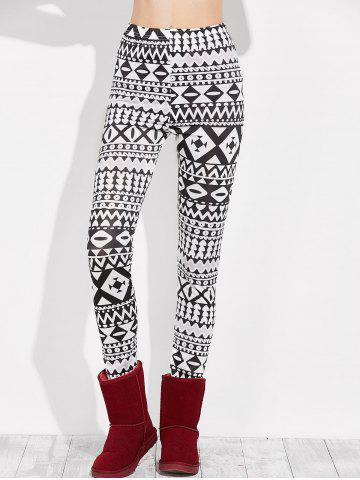 Unique Skinny Geometric Leggings WHITE/BLACK XL