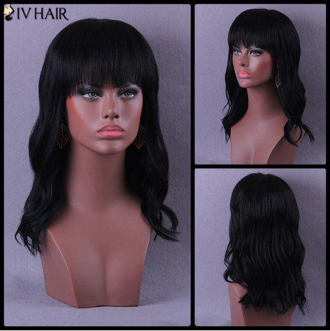 Latest Long Neat Bang Slightly Curled Shaggy Siv Human Hair Wig