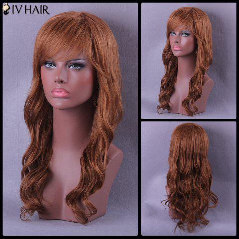 Discount Long Oblique Bang Wavy Siv Human Hair Wig
