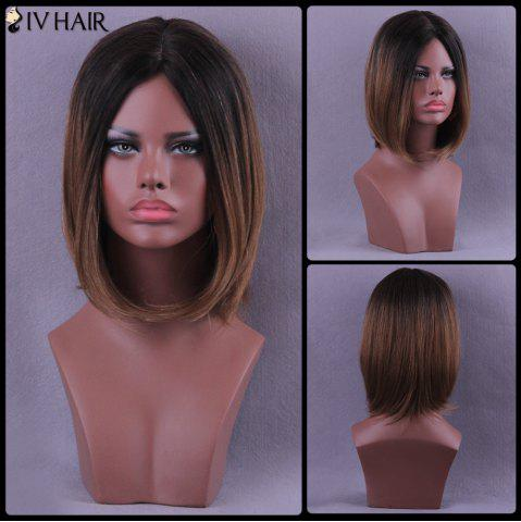 Chic Medium Centre Parting Straight Bob Colormix Siv Human Hair Wig
