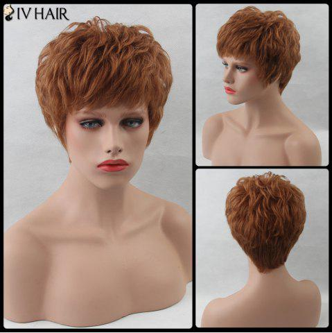 Trendy Layered Shaggy Short Inclined Bang Straight Siv Human Hair Wig