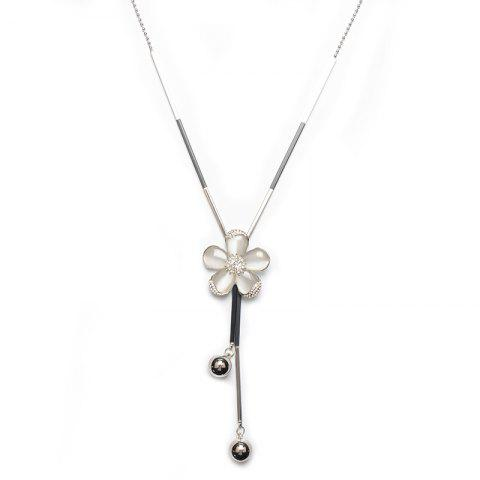 Faux Opal Frangipani Rhinestone Flower Necklace - Silver - Xl