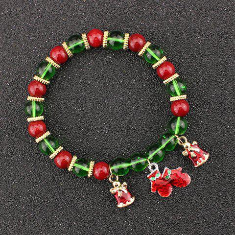 Sale Christmas Bells Gloves Charm Beaded Bracelet - GREEN  Mobile