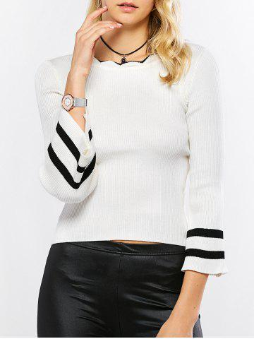 Latest Scalloped Striped Knit Sweater