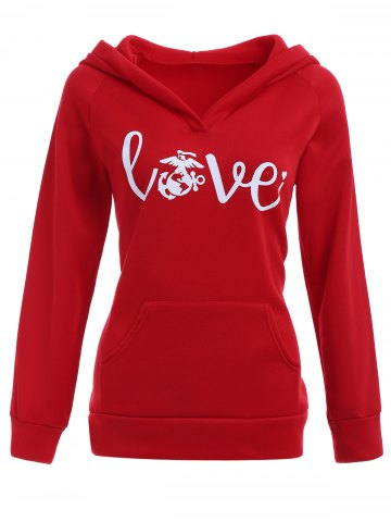 Online Love Graphic Hoodie with Pocket