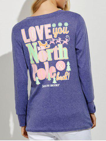 Latest Funny Print Long Sleeves Tunic T-Shirt PURPLE XL