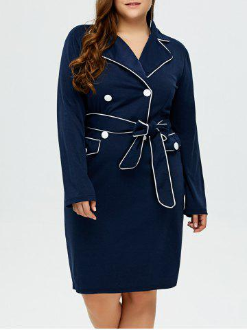 Latest Lapel Plus Size Belted Bodycon Dress