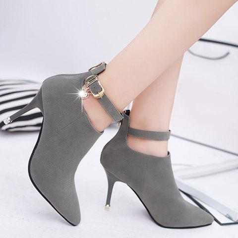 Online Buckle Strap Rhinestones PU Leather Ankle Boots DEEP GRAY 39