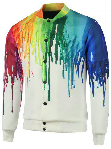 Online Plus Size Stand Collar Splatter Paint Cotton Jacket COLORMIX 5XL