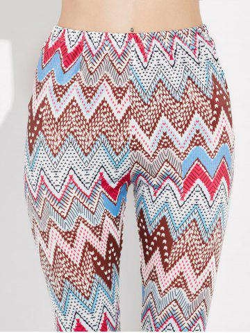 Trendy High Rise Leggings With Zigzag Print - XL MULTI Mobile