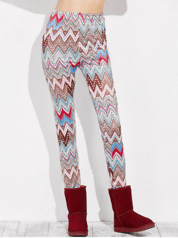 Fashion High Rise Leggings With Zigzag Print - XL MULTI Mobile