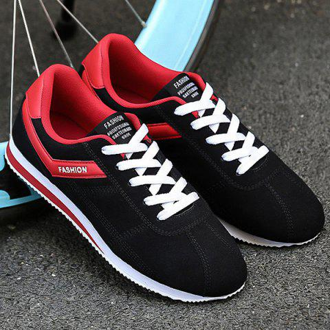 Trendy Letter Print Colorblocked Suede Sneakers