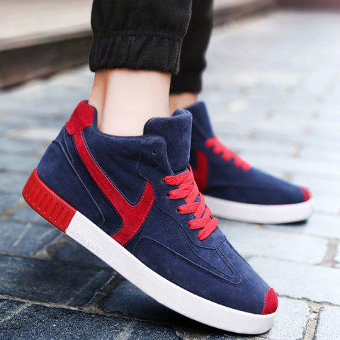 Cheap Color Splice Mid Top Suede Skate Shoes