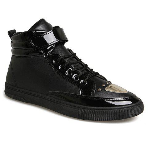 New Patent Leather Panel Rivet High Top Shoes