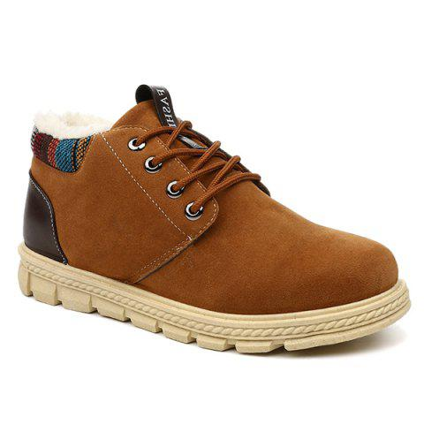 Online Flocking Lace Up Suede Casual Shoes