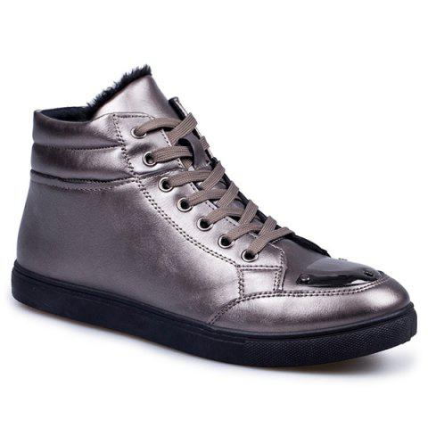 Latest PU Leather High Top Flocking Casual Shoes