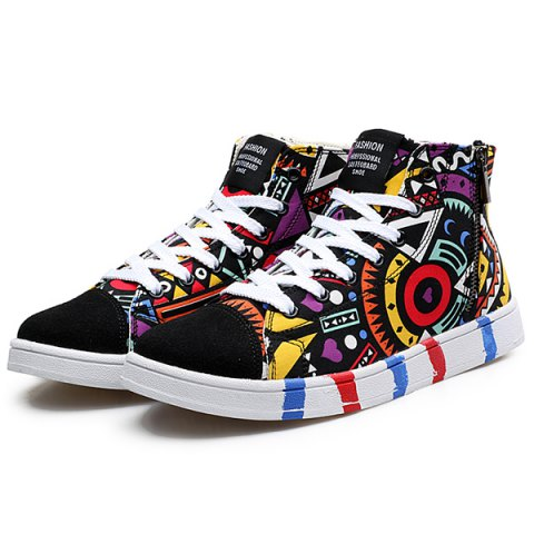 Outfit High Top Printed Canvas Shoes - 43 BLACK Mobile