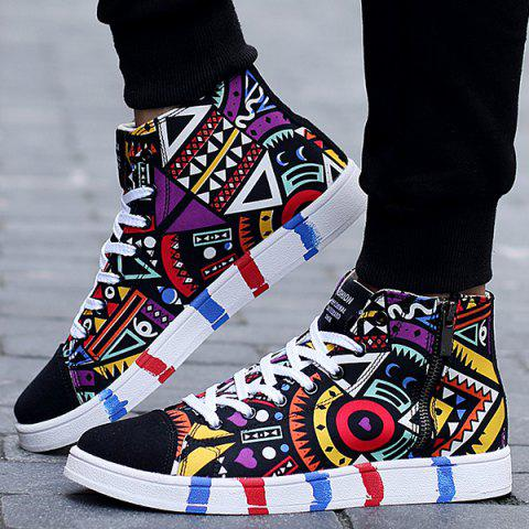 Cheap High Top Printed Canvas Shoes - 43 BLACK Mobile