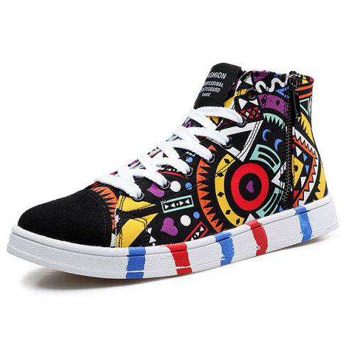 Fashion High Top Printed Canvas Shoes - 43 BLACK Mobile